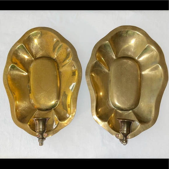 Brass Wall Sconces Candle Holders Vintage Pair